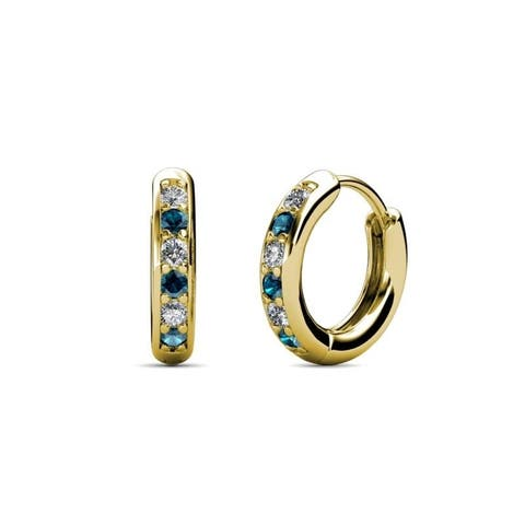 TriJewels Blue and White Diamond Hoop Earrings 0.24 ctw 14KY Gold