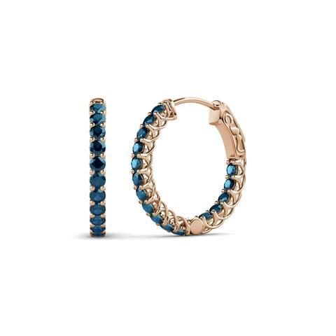 TriJewels Blue Diamond Inside-Out Hoop Earrings 0.88 ctw 14KR Gold