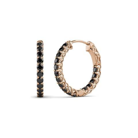 TriJewels Black Diamond Inside-Out Hoop Earrings 0.93 ctw 14KR Gold