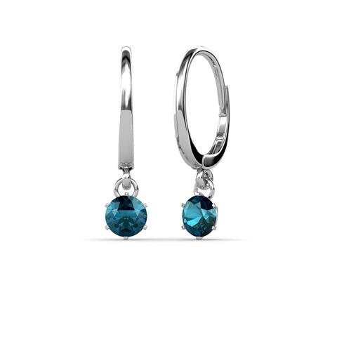 TriJewels Blue Diamond 6 Prong Dangling Earrings 0.50 ctw 14KW Gold