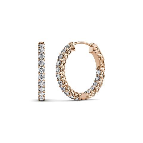 TriJewels Lab Grown Diamond Inside-Out Hoop Earrings 0.88ctw 14KR Gold