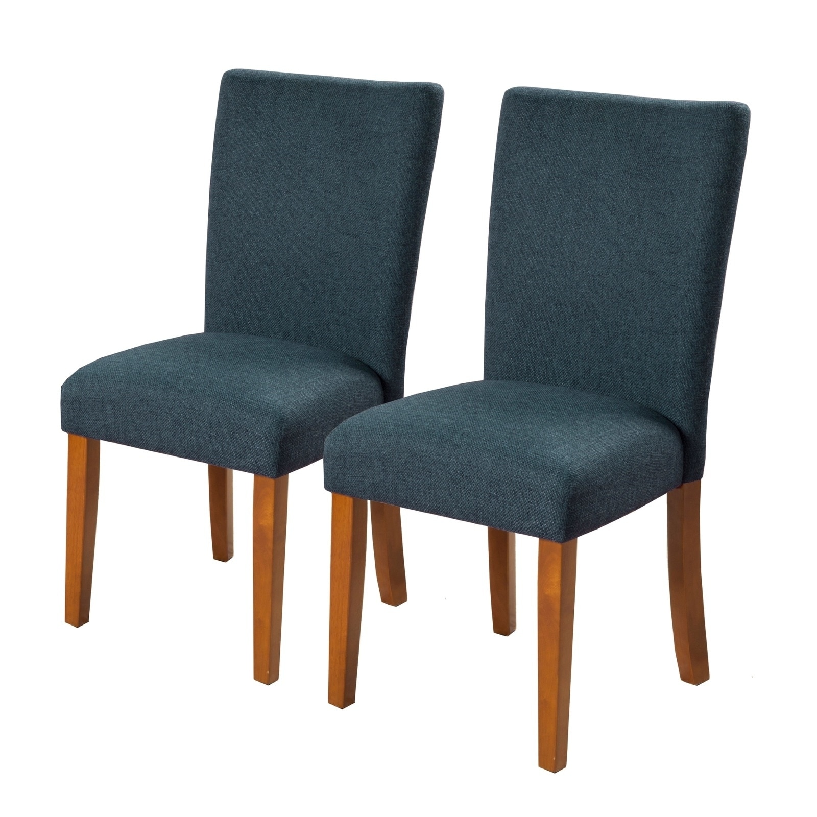 Fabric Upholstered Parson Dining Chair With Wooden Legs Navy Blue And Brown Set Of Two On Sale Overstock 28394606
