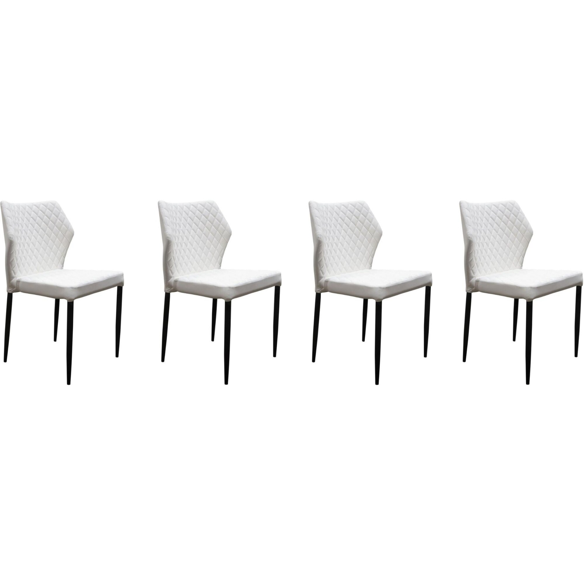 Enjoyable Diamond Tufted Leatherette Dining Chair With Metal Legs White Set Of Four Unemploymentrelief Wooden Chair Designs For Living Room Unemploymentrelieforg
