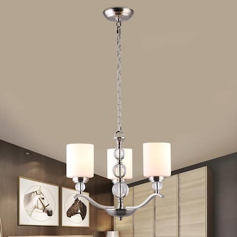 CO-Z Contemporary 3-Light Chandelier with Crystal Ball and Opal Glass Shade