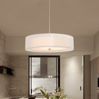 Link to CO-Z 3-Light Brushed Nickel Double Drum Pendant Chandelier Similar Items in Pendant Lights