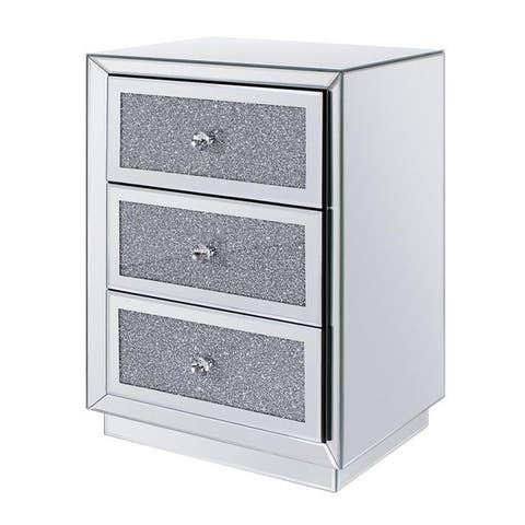 Three Drawers Wooden Nightstand with Mirrored Paneling and Faux Crystal Inlay, Clear
