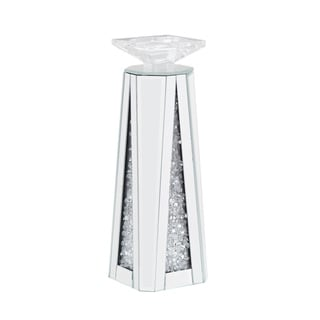 Wood and Glass Candle Holder with Faux Crystal Inserts, Clear, Set of Two, Small