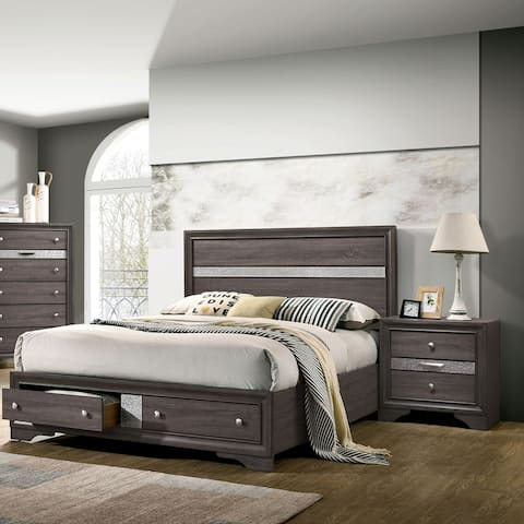 Furniture of America Bara Contemporary Grey 2-piece Bedroom Set