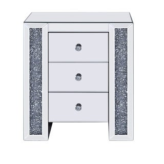 Wood and Mirror Nightstand with Three Drawers, Clear