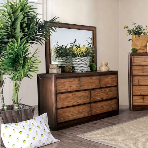 The Curated Nomad Lakeview Coastal Antique Brown 2-piece Dresser and Mirror Set