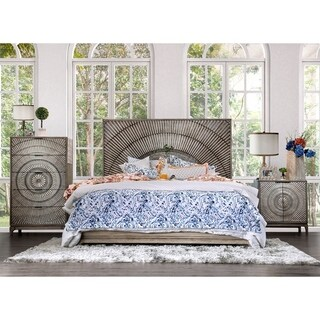 The Curated Nomad Levant Global Antique Grey 3-piece Bedroom Set with Dresser and Nightstand