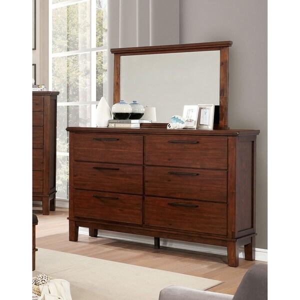 Copper Grove Tsalka Brown Cherry 2-piece Dresser and Mirror Set