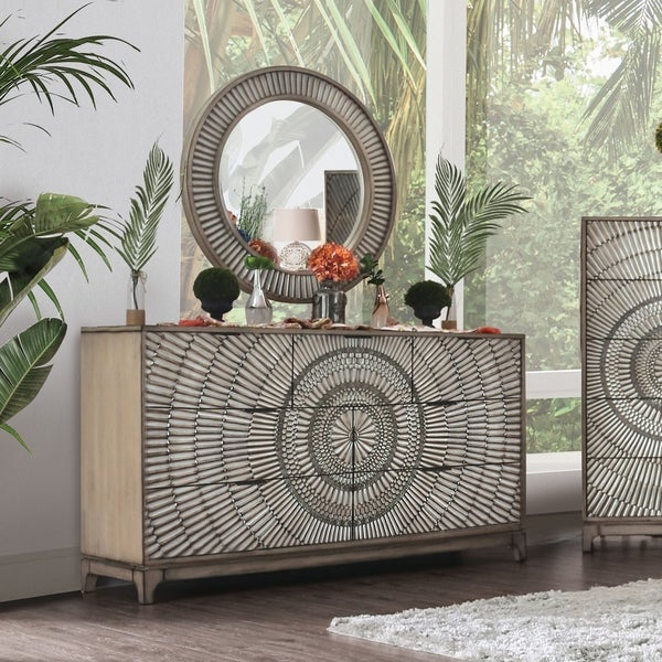 The Curated Nomad Levant Antique Grey 2-piece Dresser and Mirror Set