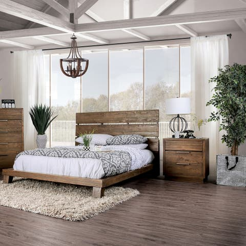 The Curated Nomad Annika Rustic Walnut 3-piece Bedroom Set