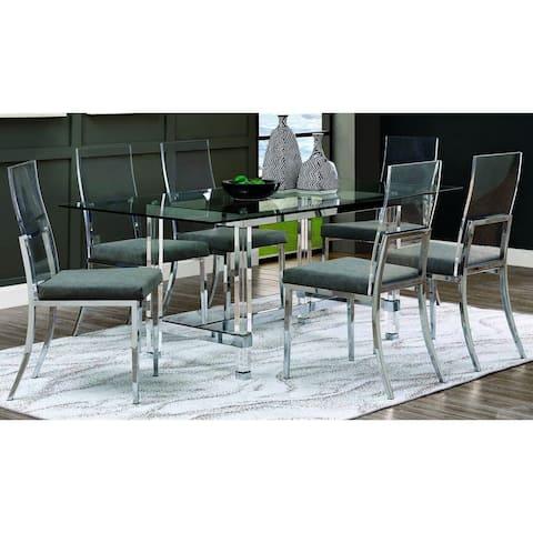 Furniture of America Kadir Chrome 7-piece Dining Set