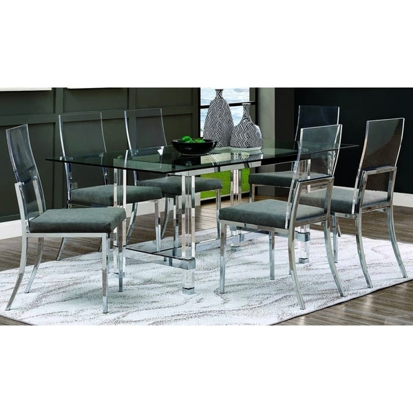 Furniture of America Kadir Chrome 7-piece Dining Set. Opens flyout.