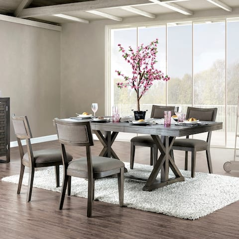 Furniture of America Millner Rustic Grey 5-piece Expandable Dining Set
