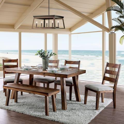 Morro Bay Rustic Light Oak 6-piece Dinning Set by FOA