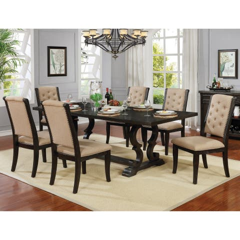 Copper Grove Baghdati Dark Walnut 7-piece Trestle Dining Set