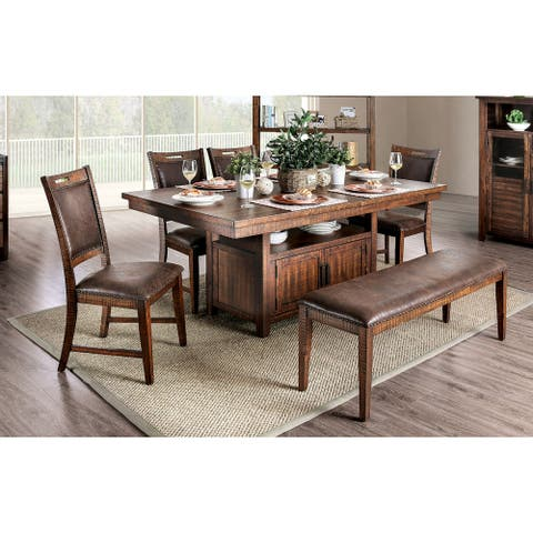 Carbon Loft Venta Rustic Light Walnut 6-piece Nailhead Dining Set