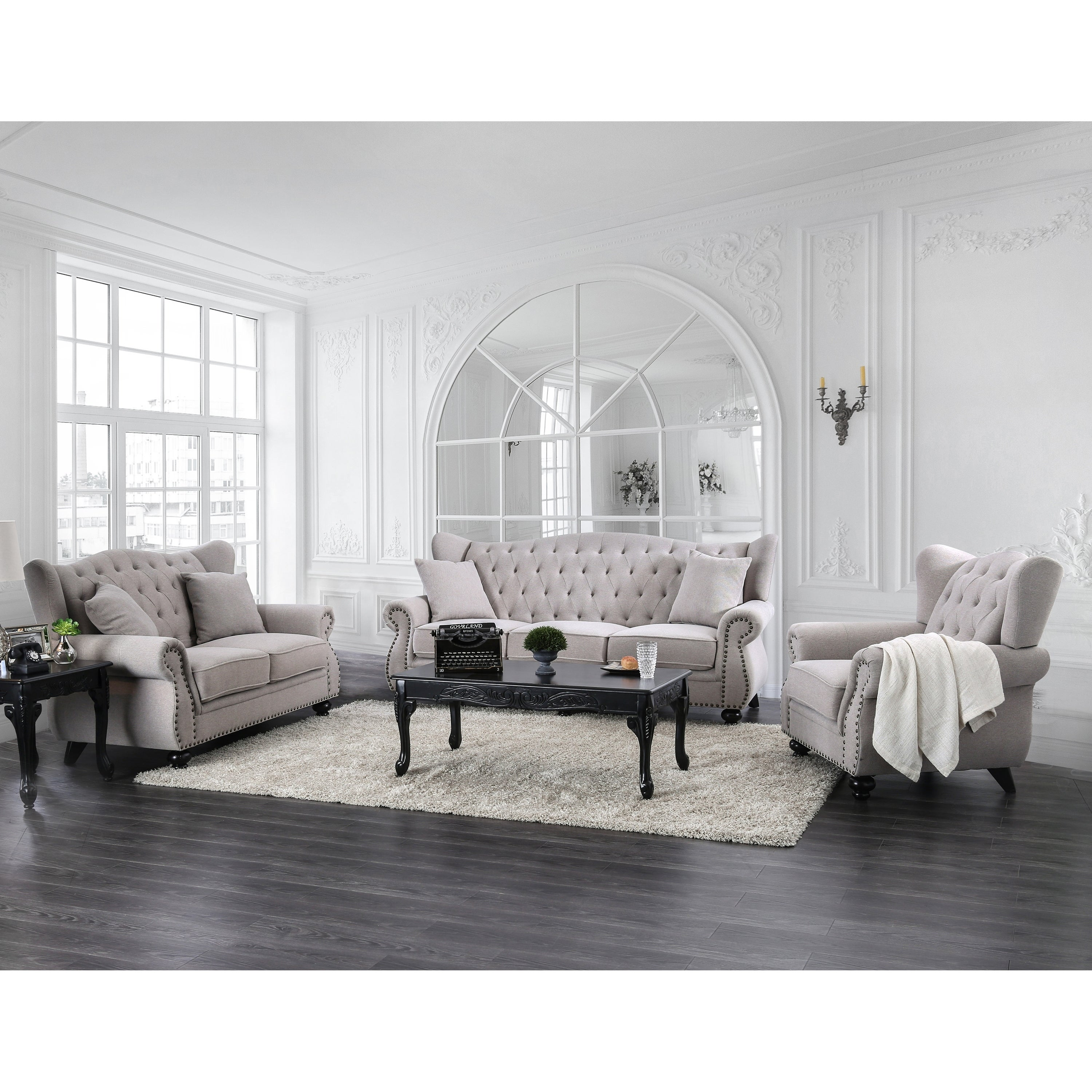 Silver Orchid Bennett Light Grey 3-pieceTufted Living Room Set