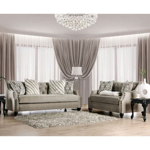 Furniture of America Deanne Traditional Brown 2-piece Living Room Set