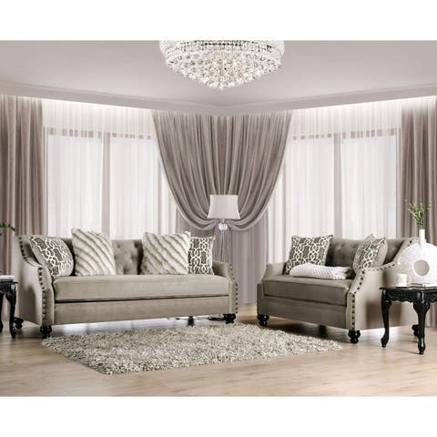 Silver Orchid Bennett Light Brown 2-piece Tufted Living Room Set