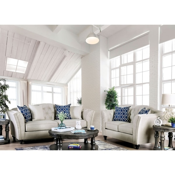 Silver Orchid Bennett Ivory 2-piece Tufted Living Room Set