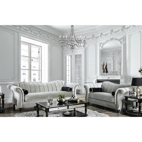 Silver Orchid Bennett Pewter 2-piece Tufted Living Room Set