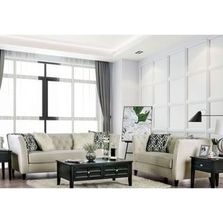 Copper Grove Koungou Ivory 2-piece Tufted Living Room Set