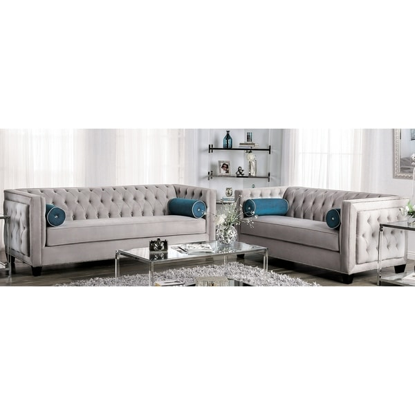 Silver Orchid Aye Glam Grey 2-piece Living Room Set