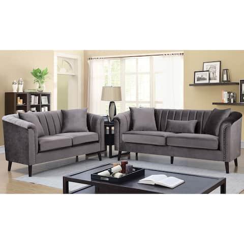 Silver Orchid Bennett Grey 2-piece Living Room Set