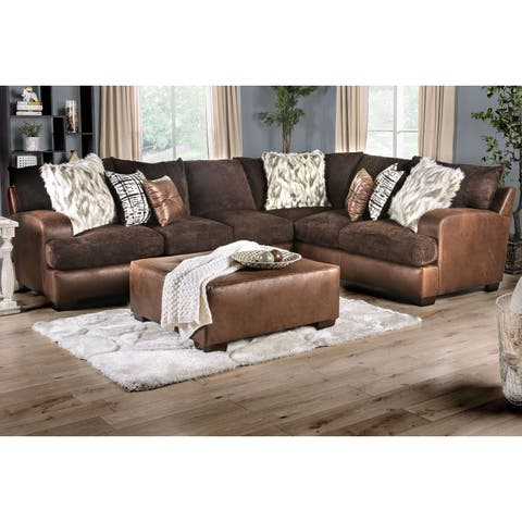 Silver Orchid Bennett Contemporary Sectional with ottoman