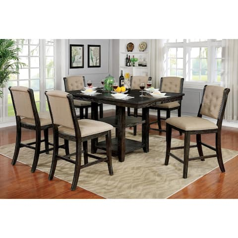 Copper Grove Baghdati Dark Walnut 7-piece Counter-height Dining Set