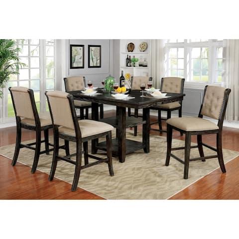 Furniture of America Baghdati Walnut 7-piece Counter-height Dining Set