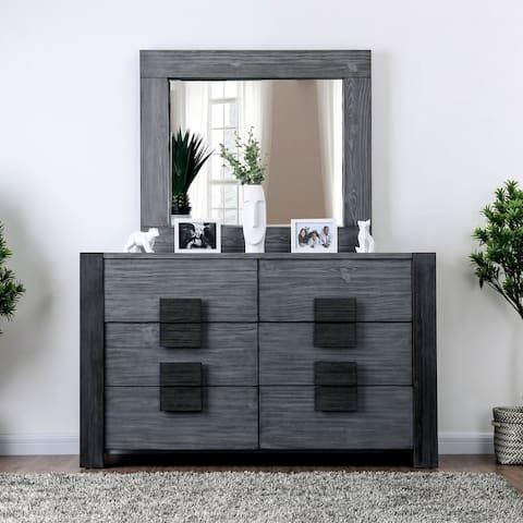 Furniture of America Yael Grey 2-piece Dresser and Mirror Set