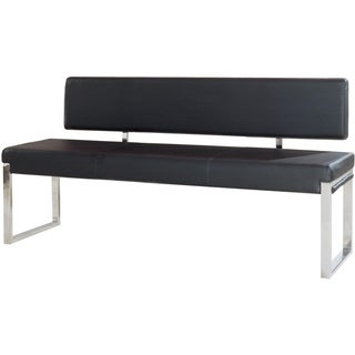 Leatherette Upholstered Bench with Stainless Steel Frame and Back Support, Black  and Silver