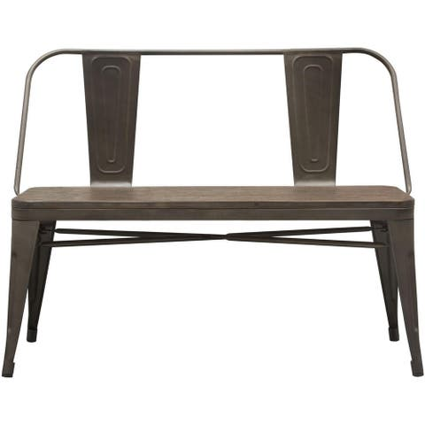 Industrial Style Metal Dining Side Bench with Bamboo Wood Seat, Brown