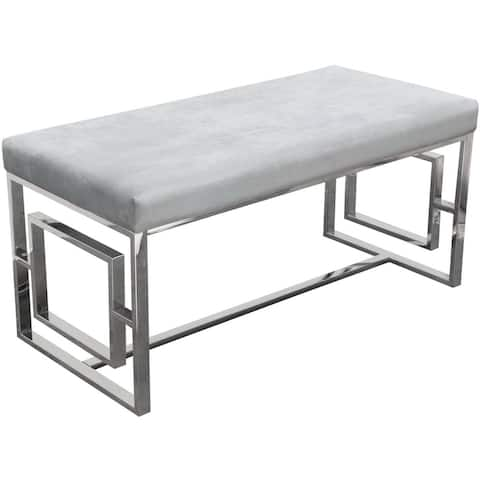 Velvet Upholstered Accent Bench with Square Patterned Stainless Steel Base, Gray and Silver