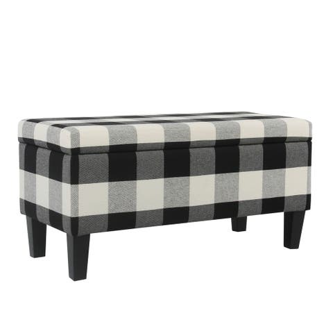 Checkered Pattern Fabric Upholstered Storage Bench With Tapered Wood Legs, Large, Black and White