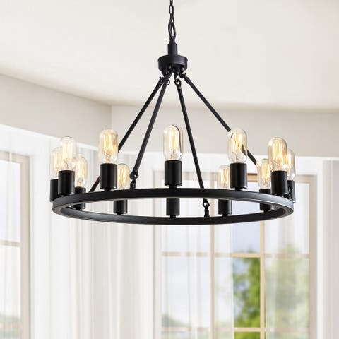 Viviana Black 12-light Metal Round Chandelier
