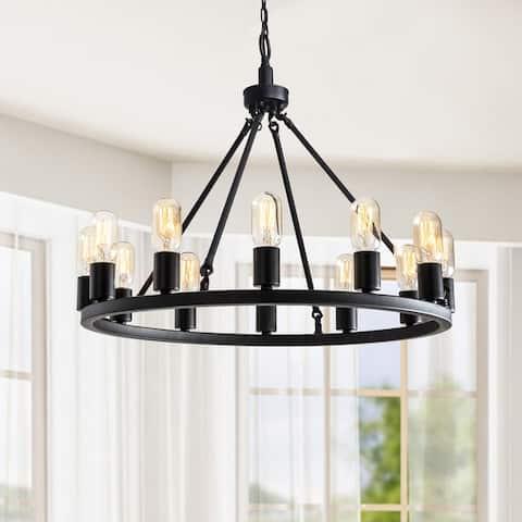Viviana Black 12-light Metal Round Chandelier