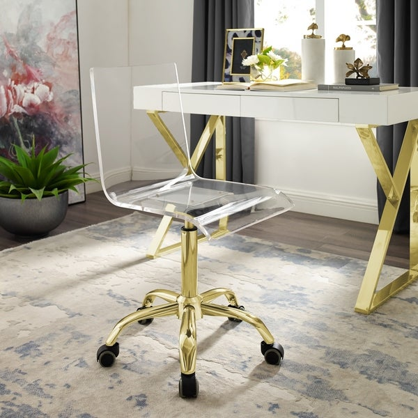 Alvaro Clear Acrylic Chair - Stainless Steel Base/ Casters. Opens flyout.