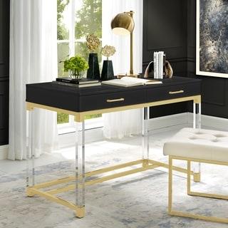 Alvaro High Gloss Writing Desk with Acrylic Legs and Metal Base