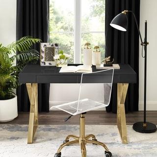 Jennifer High Gloss Modern Desk with Polished Metal Base
