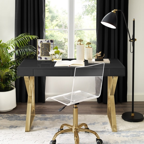 Jennifer High Gloss Modern Desk With Polished Metal Base by Inspired Home