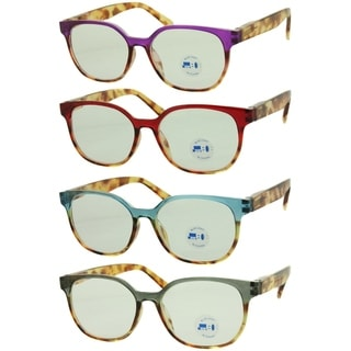 Modern Blue Light Blocking Round Reading Glasses 4 Pair Pack