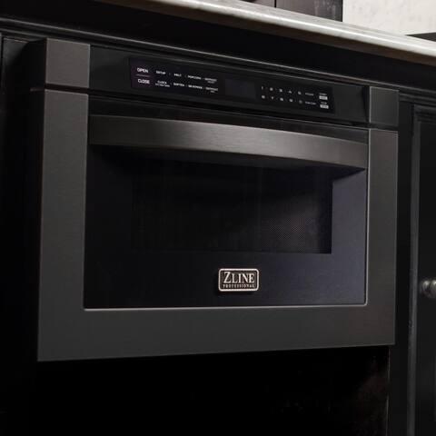 "ZLINE 24"" 1.2 cu. ft. Microwave Drawer in Black Stainless Steel - 1.2 cu. ft."