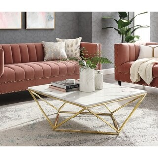 Silver Orchid Frederick White Marble Coffee Table