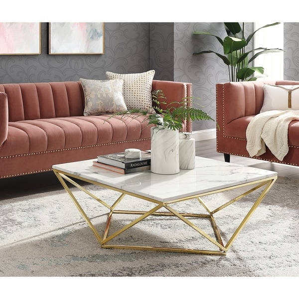 Marble And Silver Coffee Table.Shop Silver Orchid Frederick White Marble Coffee Table On Sale